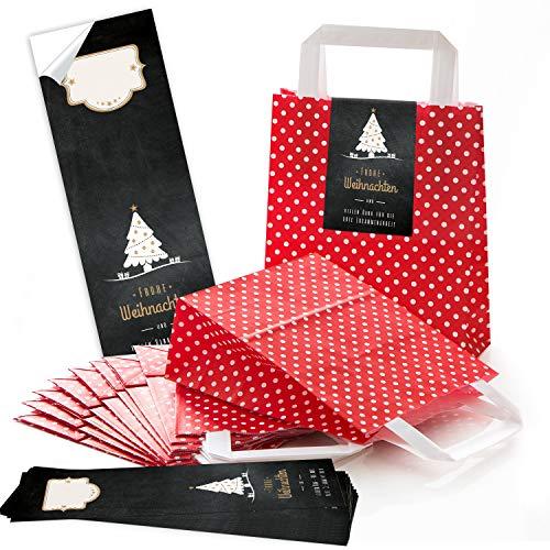 25rojos Navidad lunares asa bolsas de papel Bolsa de Regalo con suelo 18x 8x 22cm + 25pegatinas feliz navidad Danke clientes algodón negro oro blanco regalo del paquete be de llenar