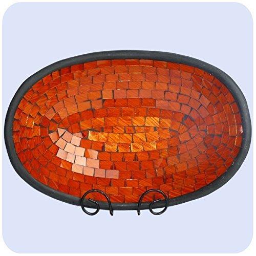 Simandra Mosaikschale Tonschale Glasschale Dekoschale Mosaik Kunsthandwerk Glassteine Deko oval groß Color Orange -