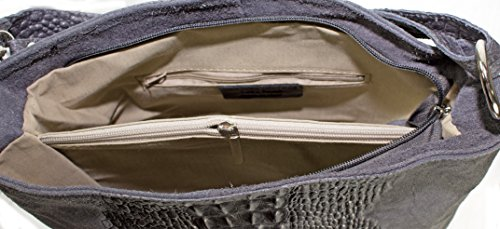 Ital Echt Leder Wildleder Handtasche Kroko Optik Damentasche Schultertasche (weinrot) grau