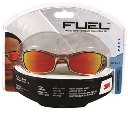 3M AO Safety/3M Tekk 90987 Fuel High Performance Safety Glasses with Titanium-Colored Frame and Red Mirror Lens by AOSafety -