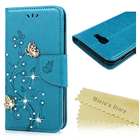 Mavis's Diary A5 2017 Case ,Samsung Galaxy A5 Bling Flip Case 2017 Model - Glitter Gems Diamonds Crystal Butterfly Wallet PU Leather Flip Cover [Chic Flower Embossed] Silicone Back Holder Case Magnetic Closure Card Slots & Stand & Wrist Strap - Grey (Not for 2015/2016