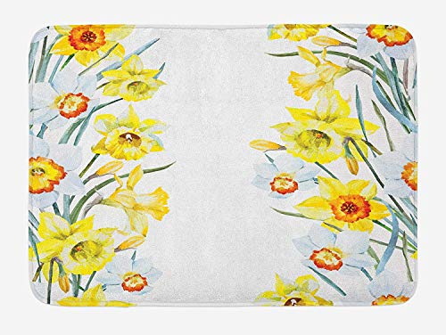 ARTOPB Daffodil Bath Mat, Spring Flowers Composition Meditation for Blossoming Results Natural Print, Plush Bathroom Decor Mat with Non Slip Backing, 23.6 W X 15.7 W Inches, Yellow White Red -