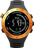 Lad-Weather Puls-Wetter-Monitor Höhenmesser-Barometer-Digitaler Kompass USB-Aufladbare Klettern-Trekking-Fischen-Wandern-Draussen-Uhr (Orange-)