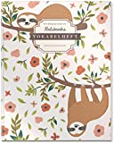 DÉKOKIND Vokabelheft | DIN A4, 84 Seiten, 2 Spalten, Register, Vintage Softcover | Dickes Vokabelbuch | Motiv: Faultiere