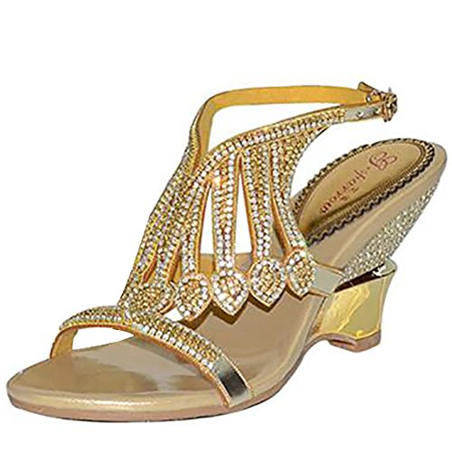 SYYAN Damen Leder Strasssteine Offener Zeh Hohl Handgefertigt Pumpe Kleid Sandalen Gold 2