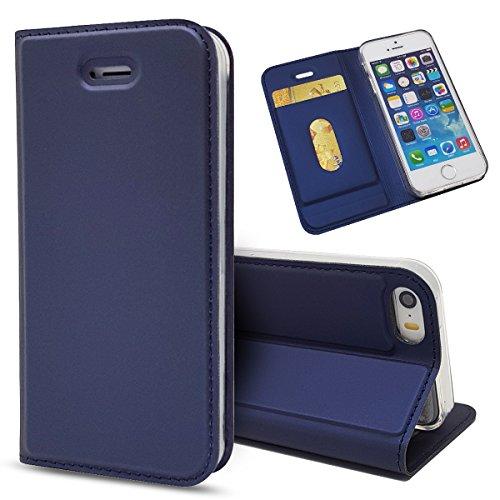 Wendapai iPhone SE 5SE 5 5S Hülle, iPhone SE 5SE 5 5S Cell Phone Cases Folio Flip Hülle Anti-Scratch schlank Hülle zum iPhone SE 5SE 5 5S (Navy Blue)