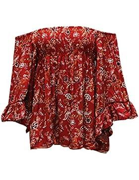 Bobury De hombro de encaje blusa camisa de las mujeres Tops Flor de verano mangas de volante de impresión ahueca...