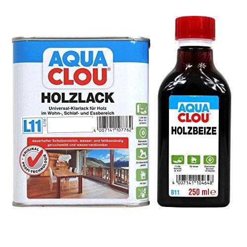 Clou Holz & Möbel Set Holzbeize B11 & Holzlack L11 - verschiedene Farbtöne und glanzgrade zur Auswahl (seidenmatt, nussbaum dunkel) -