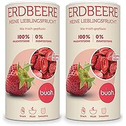 Buah | Gourmet Gefriergetrocknete Erdbeeren | 192g | Knuspriger Snack | Bester Geschmack für Smoothie und Müsli | Ohne Zusätze