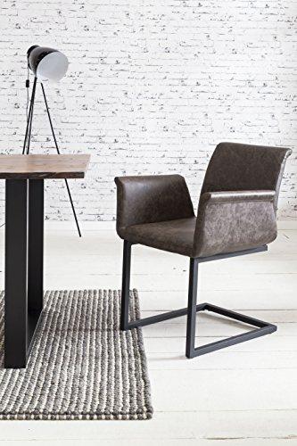 SalesFever 2er Set Freischwinger Gaia in Dunkelbraun, Stuhl in Elegantem Design, Esszimmerstuhl mit Kunstleder bezogen, schwarz lackiertem Fuß,