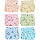 Kotak Sales Baby Cotton Padded U Shape Nappies Diaper Reusable – Pack Of 6pcs (Multi Color, 0-6 Months)