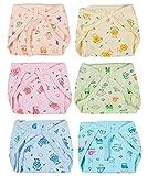 #10: Kotak Sales Baby Cotton Padded U Shape Nappies Diaper Reusable – Pack of 6pcs (Multi Color, 0-6 Months)
