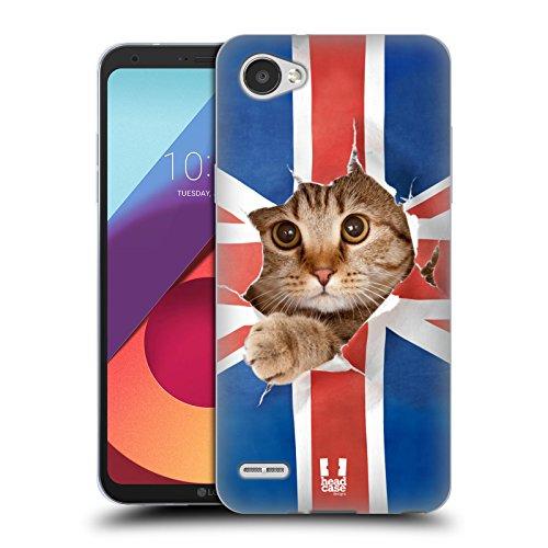 Head Case Designs Union Jack Katze Komische Tiere Soft Gel Hülle für LG Q6 / Q6 (Kostüme Für Meerschweinchen Erwachsene)
