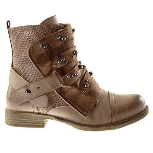 Angkorly Damen Schuhe Stiefeletten - Biker - Reitstiefel - Kavalier - Multi-Zaum - Perle - Nieten - Besetzt Blockabsatz 2.5 cm Pink 2