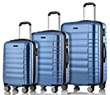 MERISH Reisekoffer Set 4 Zwillingsrollen Hartschale 10 Farben Koffer Kofferset Trolley in M - L - XL 001
