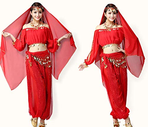ZYLL Bauchtanz Halloween Karneval KostüM Bollywood TäNzerin KostüM ()