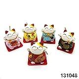 5er-Set Chinesische Glückskatzen aus Keramik Deko Glücksbringer Winkekatzen 131048