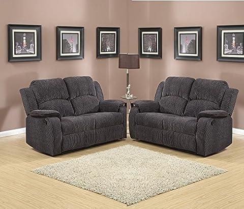 Grey / Black Reclining Fabric Material 2 Seater Sofa + 2 Seater Sofa Recliner Suite DORSET (2+2)