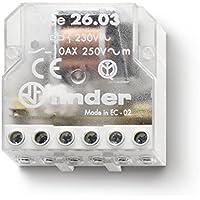 Finder serie 26 - Rele encastrado desviación bipolar contacto abierto+contacto cerrado 230vac