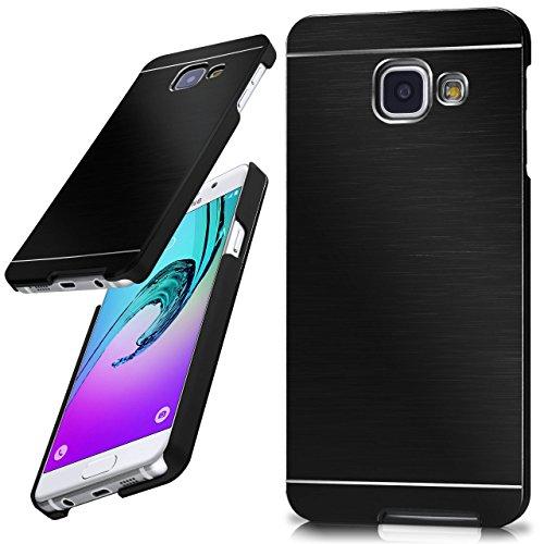 moex Samsung Galaxy A3 (2016) | Hülle Dünn Schwarz Aluminium Back-Cover Schutz Handytasche Ultra-Slim Handy-Hülle für Samsung Galaxy A3 2016 Case Metall Schutzhülle Alu Hard-Case Aluminium Hard Case