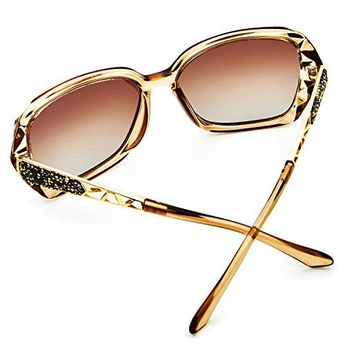 7e2e849309 LECKIRUT Donna Ombra Classico Oversize Polarizzati Occhiali da Sole 100% UV  Protezione Occhiali marrone montatura marrone lente. Visualizza le immagini