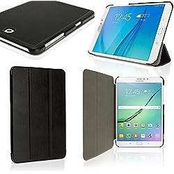 """igadgitz Premium Noir PU Smart Cover Etui Housse Case Cuir pour Samsung Galaxy Tab S2 8"""" SM-T710 avec Support Multi-Angles + Mise en Veille / Réveil + Protecteur D'écran"""