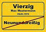 Ortsschild aus Aluminium in DIN A5, A4 und DIN A3 Geburtstag Deko Geschenk Verkehrsschild, Schildausführung:40 Jahre, Größe:A3-420 x 297