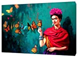 ARTSPRINTS Schmetterling-piant von Frida Kahlo Holz-gerahmt Leinwand Kunstdruck Home Dekoration, 40 x 30 inch(102 x 76 cm)-18mm depth