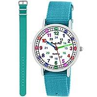 Pacific Time kinder polshorloge meisjes jongens leerhorloge 2 wisselen textielband turquoise lichtblauw analoog kwarts 11120