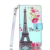 Cozy Hut iPod Touch 6th / 5th Hülle Blau Paris Tower, Flip Case Leder Wallet Cover Tasche handyhüllen TPU Silikon Bumper Schutz Schale 3D Muster Schutzhülle für iPod Touch 6th / 5th Lederhülle mit