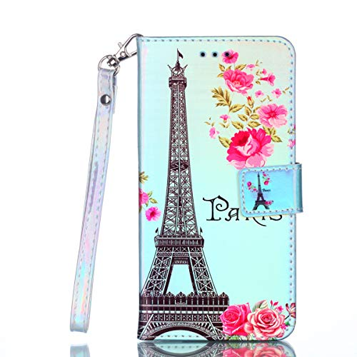 Cozy Hut LG X Power Hülle Blau Paris Tower, [Premium Leder] [Standfunktion] [Kartenfach] [Magnetverschluss] Schlanke Leder Brieftasche für LG X Power - Paris Rose Tower
