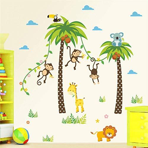 LIUHY Waldtiere Giraffe Lion Monkey Palm Tree Wandaufkleber Für Kinderzimmer Kinder Wandtattoo Kindergarten Schlafzimmer Dekor Poster Wandbild