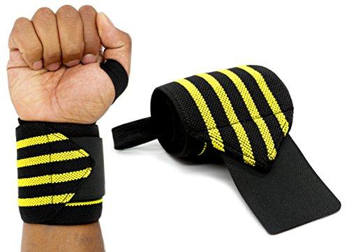 MyGadget Elastische Handgelenk Bandagen - 2X Sport Handgelenkbandage (Daumenschlaufe) Kompression für Fitness, Bodybuilding, Tennis & Kraftsport - Gelb