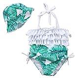 2 pcs Ensemble de Bikini pour Bébés Fille et Mère Maillot de Bain pour Famille (2-3Ans, Vert fille)