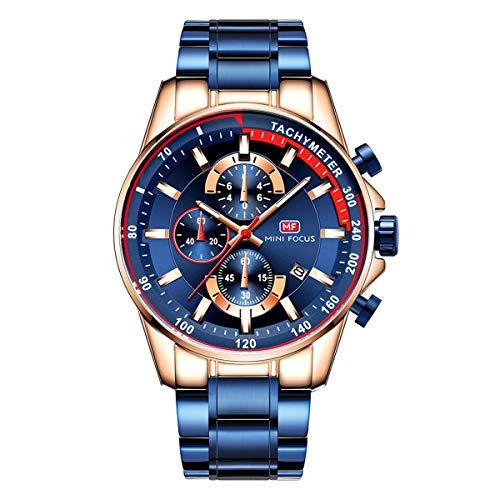 Herren Schwarz Uhren Männer Militär Wasserdicht Sport Groß Chronograph Quarz Armbanduhr Mann Mode Datum Kalender Geschäft Uhr (Blau 3)