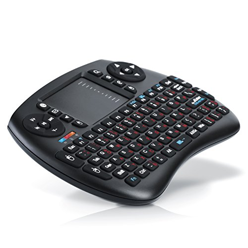 Aplic - Mini Wireless Keyboard inkl. Touchpad | Funk-Tastatur 2,4GHz Multifunktionsboard Fernbedienung | 92 Tasten | 2 DPI Stufen | PC Mac OS Linux Android Raspberry Pi | multitouch-fähig