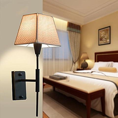 ZQ@QX Parete decorativa tradizionale semplice hotel café ristorante lampada da parete Applique in ferro battuto