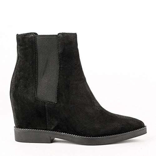 Ash GONG Low-Wedge Boots Black Suede 38 Black