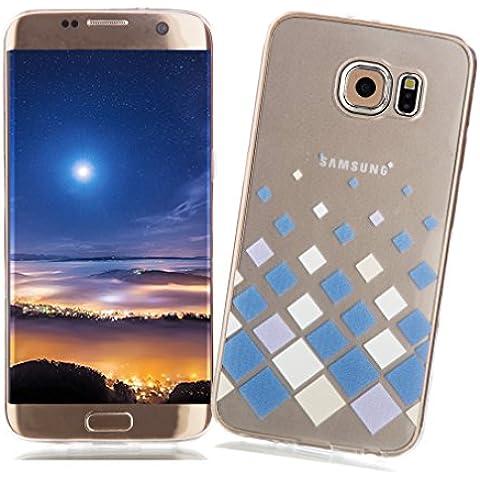 Funda Samsung Galaxy S7 EDGE XiaoXiMi Carcasa Transparente de Silicona Clear Soft TPU Silicone Case Cover Bumper Funda Protectora Carcasa Blanda Caso Suave Flexible Caja Delgado Ligero Casco Anti Rasguños Anti Choque Funda con Patrón de Diseño único para Samsung Galaxy S7 EDGE - Cuadrados Blancos Azules