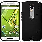 Coque en Silicone pour Motorola Moto X Play - S-Style noir - Cover PhoneNatic Cubierta + films de protection