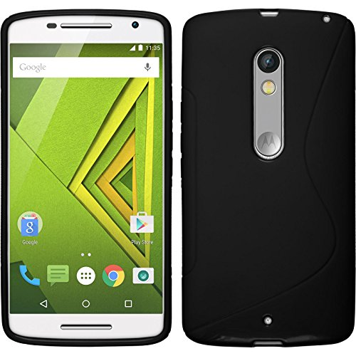 Coque en Silicone pour Motorola Moto X Play - S-Style noir - Cover PhoneNatic Cubierta + films de protection
