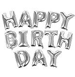 TRIXES Silber HAPPY BIRTHDAY Buchstaben Ballons