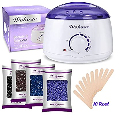 Wax Warmer Electric Wax Heater Hair Removal Waxing Kit with 4 Different Flavors Hard Wax Beans+10 Wax Applicator Sticks?Chamomile, Lavender,Nature,Chocolate) by Zic