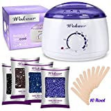 Wax Warmer Electric Wax Heater Hair Removal Waxing Kit with 4 Different Flavors Hard Wax Beans+10 Wax Applicator Sticks(Chamomile, Lavender,Nature,Chocolate)