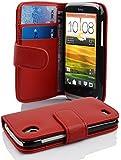 Cadorabo - Book Style Hülle für HTC Desire X - Case Cover Schutzhülle Etui Tasche mit Kartenfach in INFERNO-ROT