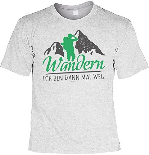 Fun T-Shirt mit Wandermotiv: Wandern. Ich bin dann mal weg - Coole Geschenkidee - Geburtstag - Wandern - Bergsteigen - grau