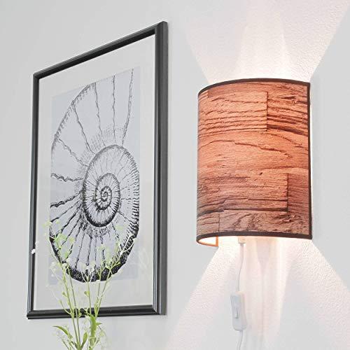 Aplique moderno con cable para toma de pared Papel pintado con diseño de madera lámpara pasillo sala de estar