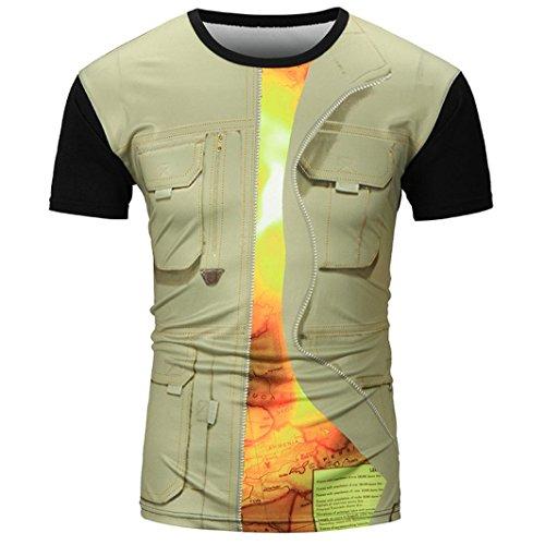 Herren T-Shirt Slim-Fit Sannysis Männer Hawaiian Shirt 3D Print T-Shirt Sport Kurzarm T-Shirts Bluse Top Einfarbige T-Shirts mit Rundhalsausschnitt (Khaki, 2XL) (Shirt Baumwolle Hawaiian)
