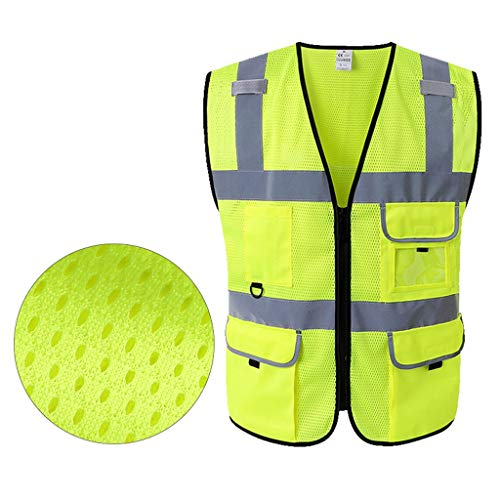 KLEDDP Reflektierende Weste mit Mehreren Taschen für den Straßenbau Sicherheitsweste hohe Sichtbarkeit Größe Farbe optional Reflektierende Westen (Color : Fluorescent Yellow, Size : M)