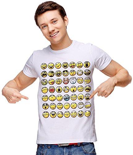 Retreez T-Shirt mit lustigem Smiley-Emoticon-Emoji-Aufdruck - Weiß - Mittel (Teenager-witze Für Halloween)
